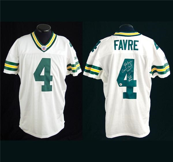 info for 2c044 d7e41 Brett Favre Autographed Game Worn 40,000 Passing Yards Jersey