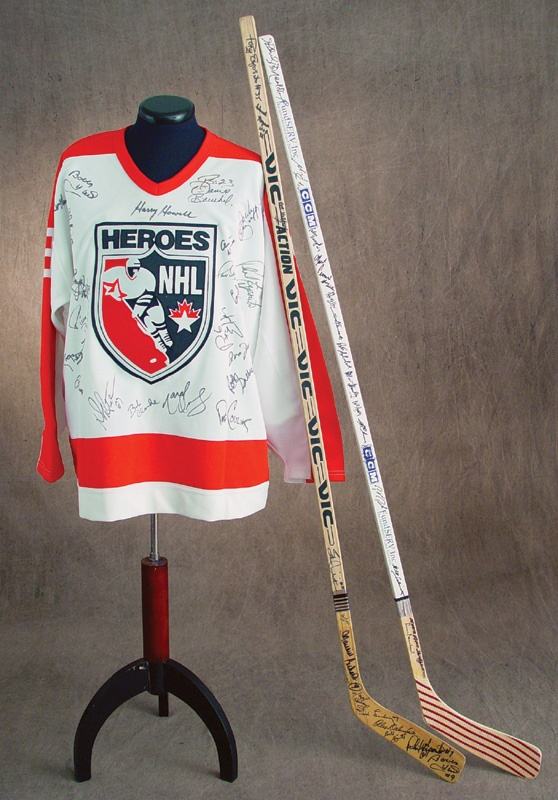 11deca46ac2 Collection of Hall of Fame Signed Sticks and Jersey (3)