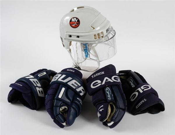 Alexei Yashin Helmet And Gloves And Mike Peca Gloves