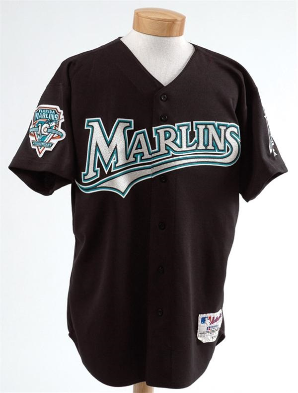 e5a057e44 2003 Ivan Rodriguez Game Worn Florida Marlins Jersey