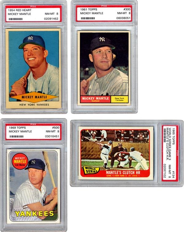 1954 1969 Mickey Mantle Baseball Cards 18 Different 14 Psa