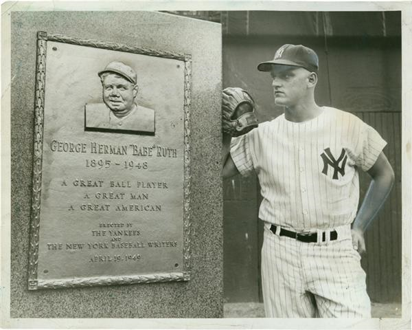 Roger Maris At The Babe Ruth Monument Yankee Stadium 1961