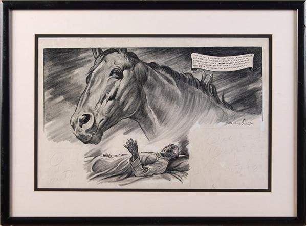 Man O War Horse Racing Original Cartoon Artwork by Burris Jenkins