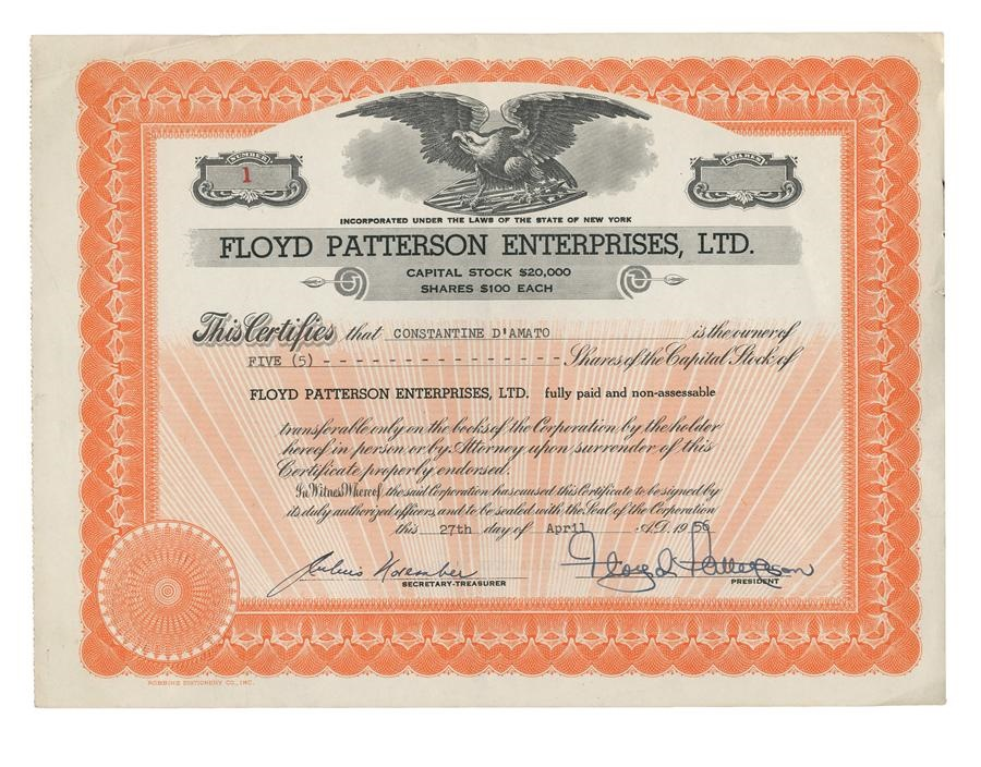 The Floyd Patterson Collection - Fall 2013 Catalog Auction