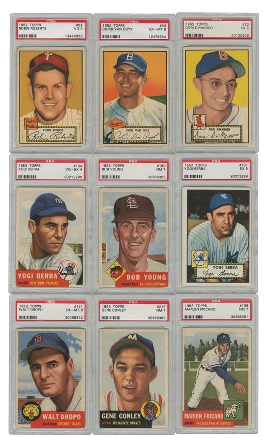 1952 1953 Topps Baseball Card Group All Psa Graded 37