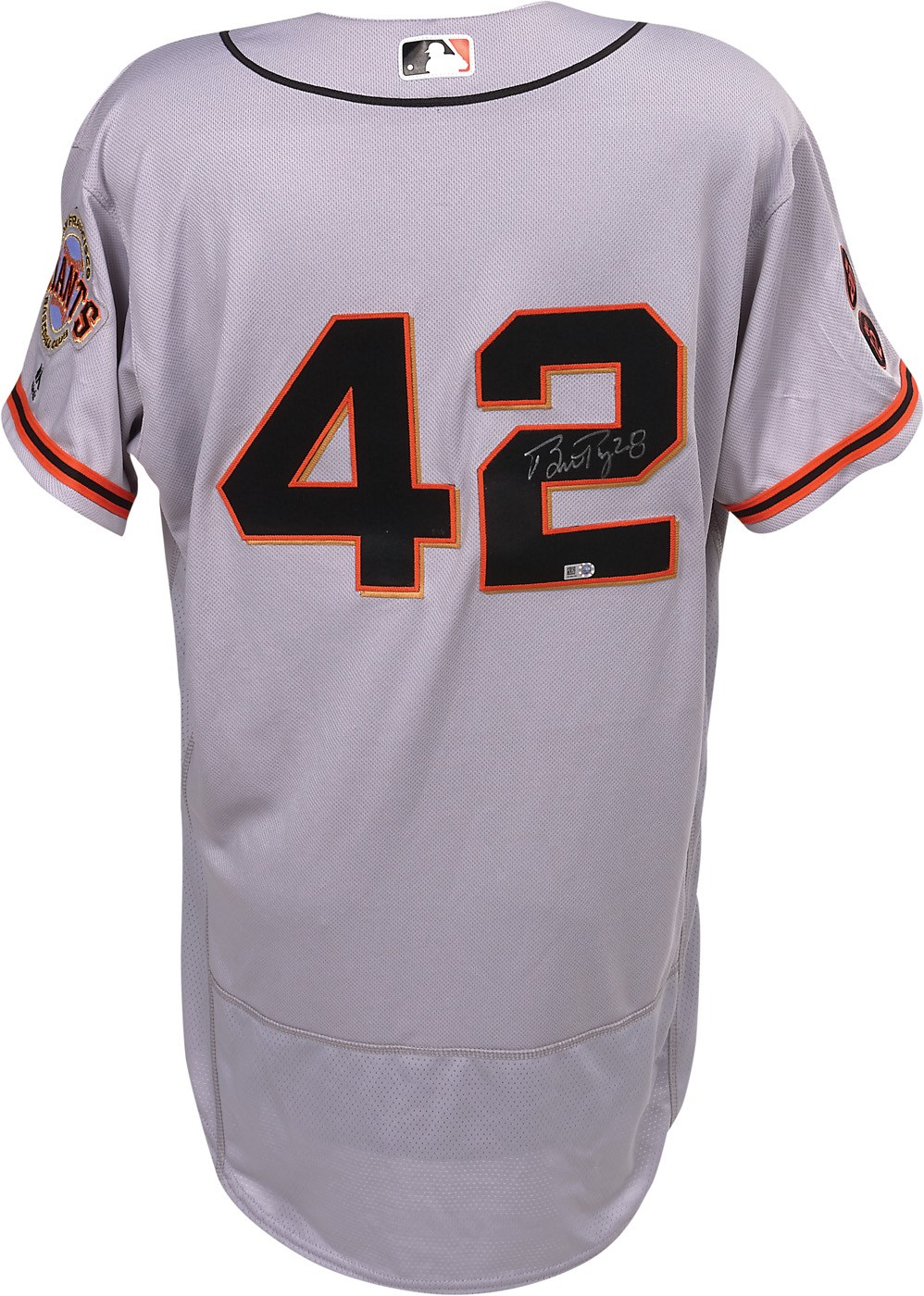 56125c51a92 2016 Buster Posey Signed Game Worn  42 Jackie Robinson Day Jersey (MLB  Hologram   Photo-Matched)