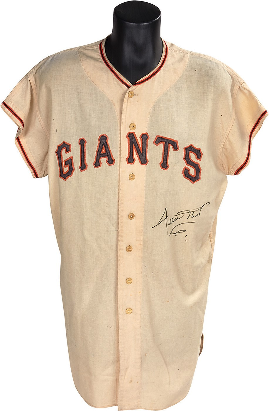 8c6d459a0 1957 Willie Mays New York Giants Game Worn Jersey from His Last Game at the  Polo ...