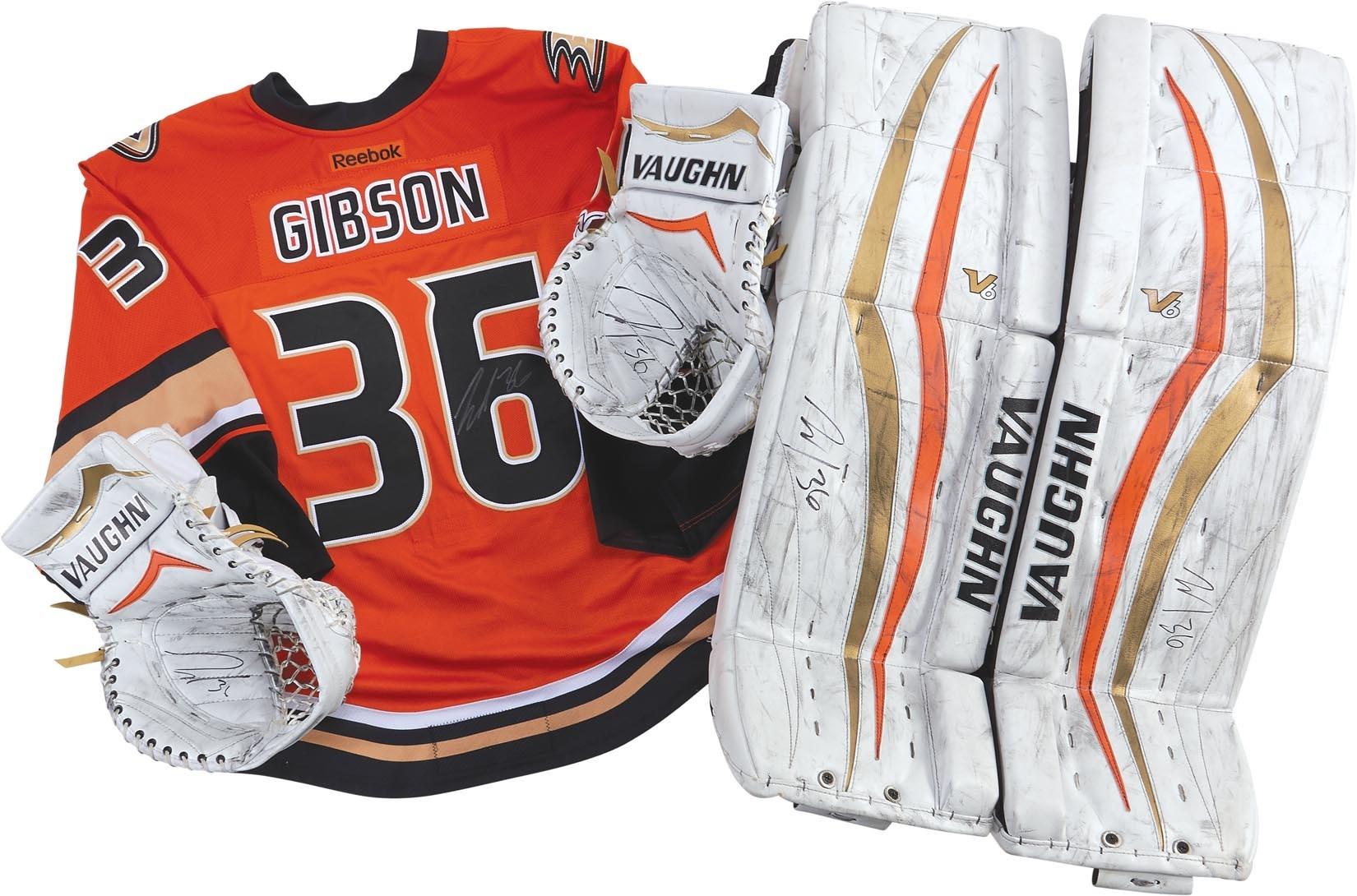 John Gibson Anaheim Ducks Game Worn Jersey and Goalie Equipment cffc79e48f5