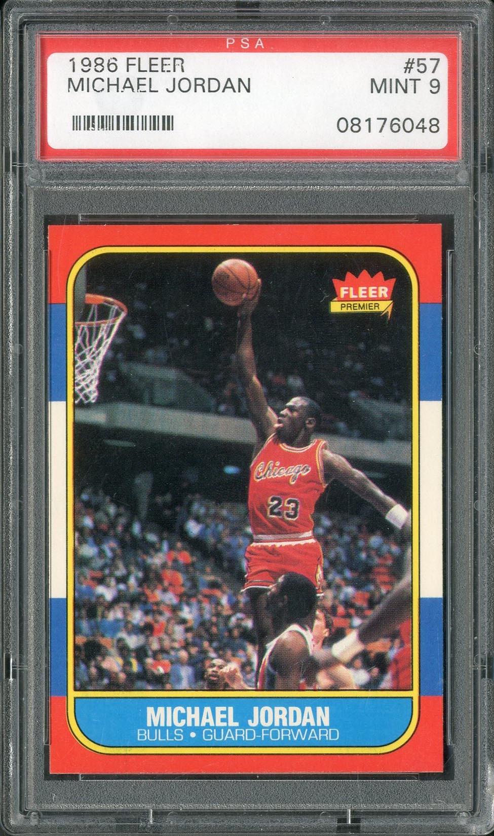 new style ba156 bf6bd 1986 Fleer Michael Jordan  57 Rookie PSA MINT 9
