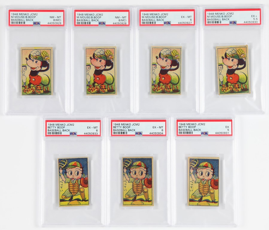 1848 Menko Mickey Mouse & Betty Boop Playing Baseball Cards (7)