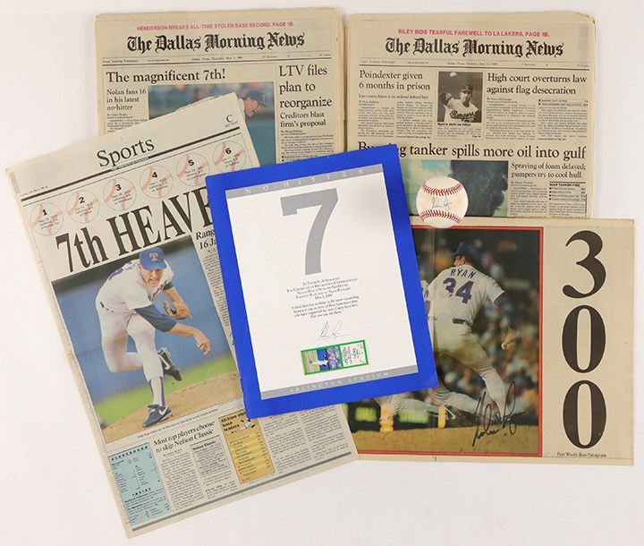 Nolan Ryan 7th No-Hitter Collection with Signed Baseball