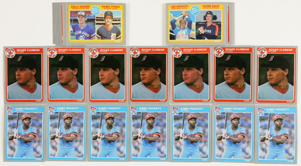 1985 Fleer Baseball Card High Grade Lot w/Clemens & Puckett Rookies & Others (46)