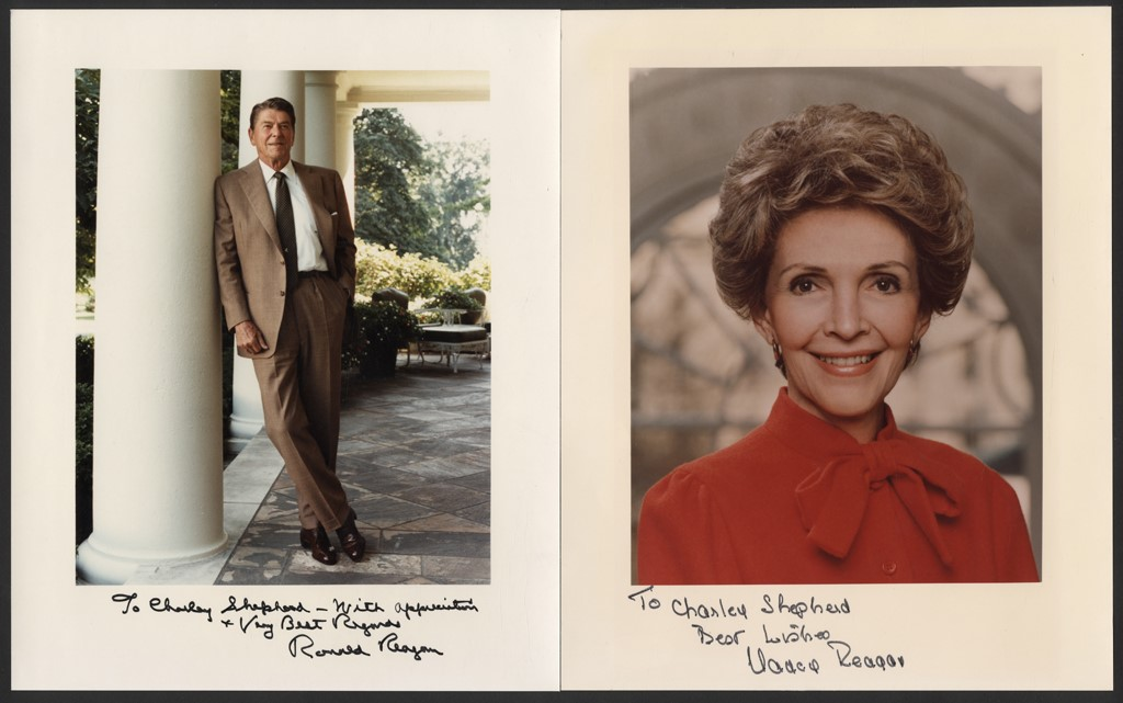 Ronald & Nancy Reagan Signed White House Photographs (PSA)