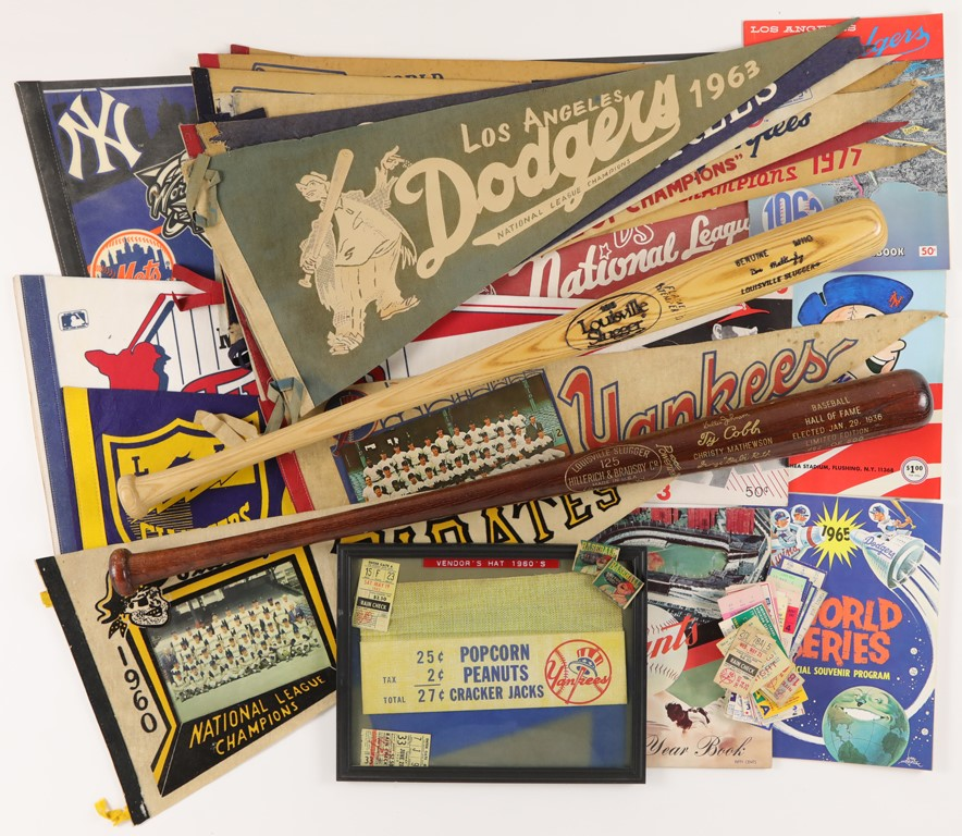 Vintage Baseball Memorabilia Collection with 1936 HOF Induction Bat and Pennants
