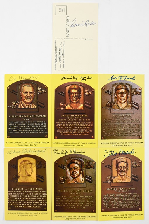 Collection of Signed Yellow Hall of Fame Plaque Postcards (39)